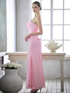 Amazing One Shoulder Ankle Length Baby Pink Prom Gown Chiffon Sleeveless Ruching and Hand Made Flower