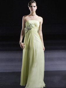 Ruching and Bowknot Dress for Prom Light Yellow Side Zipper Sleeveless Floor Length