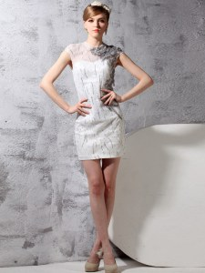 Fashion Scoop Cap Sleeves Mini Length Embroidery Zipper Prom Dress with White