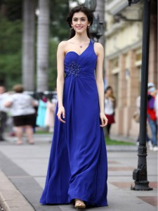 Beauteous Floor Length Royal Blue Prom Dresses One Shoulder Sleeveless Side Zipper