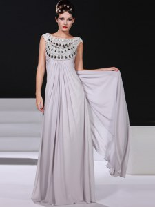 Stunning Silver Sleeveless Beading and Lace Floor Length Prom Evening Gown