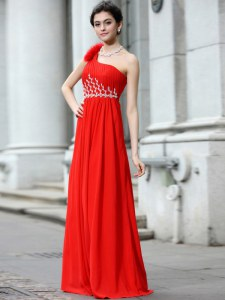Hot Selling Coral Red One Shoulder Neckline Beading and Ruching Sleeveless Zipper
