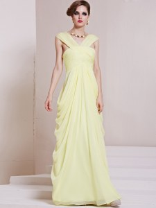 Sophisticated Floor Length Column/Sheath Sleeveless Light Yellow Criss Cross