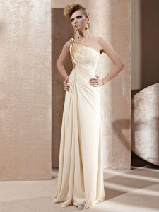 Extravagant Champagne Chiffon Side Zipper One Shoulder Sleeveless Floor Length Prom Party Dress Beading