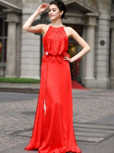 Scoop Sleeveless Zipper Floor Length Beading and Appliques Dress for Prom