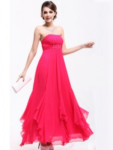 Admirable Hot Pink A-line Chiffon Strapless Sleeveless Beading and Ruching Ankle Length Zipper Homecoming Dress