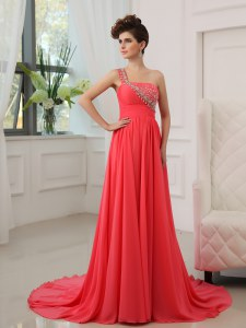 Fancy Watermelon Red Empire One Shoulder Sleeveless Chiffon With Brush Train Zipper Beading Prom Gown
