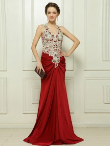 Pretty Red Column/Sheath Beading and Appliques Prom Dress Zipper Elastic Woven Satin Sleeveless With Train