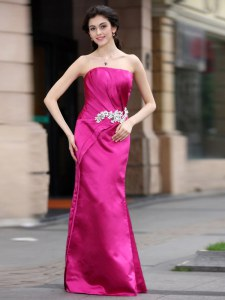 Wonderful Sleeveless Satin Floor Length Zipper Evening Dress in Hot Pink with Beading