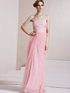 Attractive Sleeveless Floor Length Ruching Side Zipper Homecoming Gowns with Baby Pink