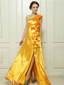 Sweet One Shoulder With Train Zipper Prom Party Dress Gold for Prom and Party with Ruffles Brush Train