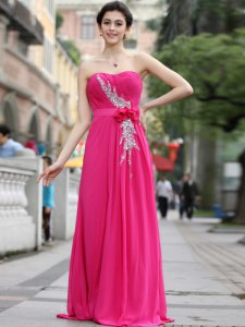 With Train Column/Sheath Sleeveless Hot Pink Prom Party Dress Brush Train Zipper