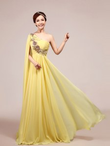 One Shoulder Sleeveless Sweep Train Zipper With Train Appliques and Ruching Celebrity Prom Dress