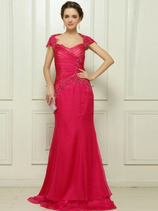 Fantastic With Train Column/Sheath Cap Sleeves Hot Pink Homecoming Dress Sweep Train Backless