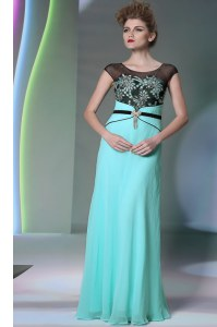 Delicate Scoop Sleeveless Prom Gown Floor Length Appliques Teal Chiffon