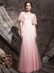 Baby Pink Column/Sheath Chiffon V-neck Half Sleeves Lace and Appliques Floor Length Zipper Prom Dress