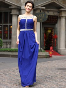 Perfect Royal Blue Empire Square Sleeveless Chiffon Floor Length Zipper Beading