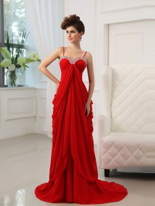 Dynamic With Train Red Dress for Prom Spaghetti Straps Sleeveless Brush Train Zipper