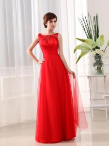 Scoop Tulle Sleeveless Floor Length Prom Party Dress and Beading and Appliques