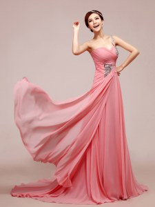 Watermelon Red Chiffon Zipper Prom Gown Sleeveless Floor Length Beading and Ruching