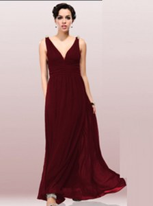 Designer V-neck Sleeveless Zipper Dress for Prom Burgundy Chiffon
