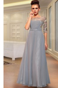 Classical Grey Chiffon Side Zipper Square Half Sleeves Ankle Length Homecoming Dress Beading and Embroidery