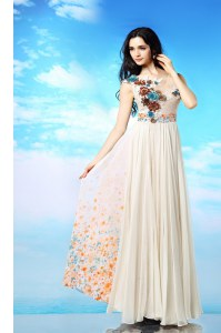 Popular Scoop Sleeveless Chiffon Ankle Length Side Zipper Homecoming Party Dress in White with Appliques and Ruching and Pattern