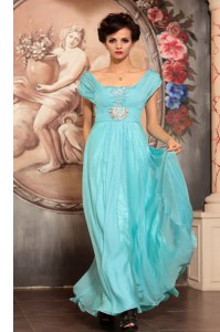 Discount Off The Shoulder Cap Sleeves Prom Gown Floor Length Beading Aqua Blue Chiffon