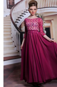 3 4 Length Sleeve Floor Length Lace and Sequins Zipper Prom Gown with Fuchsia