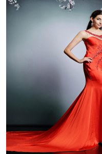 Nice Coral Red Dress for Prom Scoop Sleeveless Court Train Side Zipper