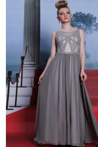 Chiffon Scoop Sleeveless Side Zipper Beading Evening Dress in Grey