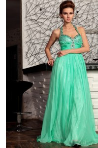 Halter Top Turquoise Empire Beading Homecoming Dress Zipper Chiffon Sleeveless