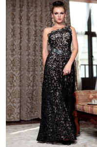 One Shoulder Sleeveless Floor Length Beading Side Zipper Prom Evening Gown with Black