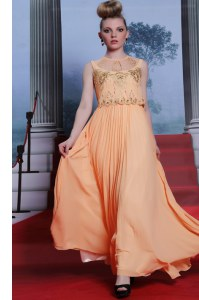 Fancy Orange High-neck Side Zipper Beading and Appliques Homecoming Dress Sleeveless