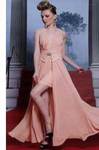 Pink Empire Chiffon V-neck Sleeveless Beading and Appliques Floor Length Clasp Handle Evening Party Dresses