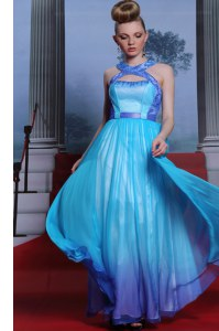 Fantastic Scoop Sleeveless Floor Length Beading and Belt Zipper Dress for Prom with Blue