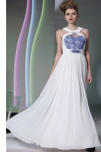 Halter Top Beading and Embroidery Prom Dress White Zipper Sleeveless Floor Length