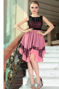 Excellent Pink And Black Scoop Neckline Beading and Lace Cocktail Dress Sleeveless Side Zipper