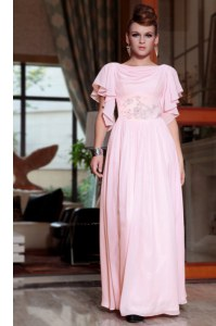 Ankle Length Pink Prom Evening Gown Chiffon Cap Sleeves Beading and Ruching