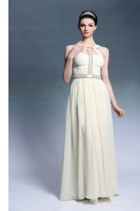 Light Yellow Sleeveless Chiffon Side Zipper Evening Dress for Prom and Party