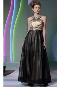 Free and Easy Halter Top Floor Length Empire Sleeveless Black Prom Dress Side Zipper