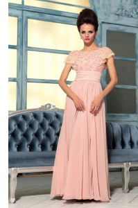Dynamic Pink Empire Bateau Cap Sleeves Chiffon Floor Length Side Zipper Lace and Hand Made Flower Prom Dresses