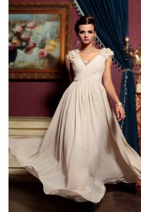 Champagne Chiffon Side Zipper V-neck Cap Sleeves Floor Length Formal Dresses Beading and Hand Made Flower