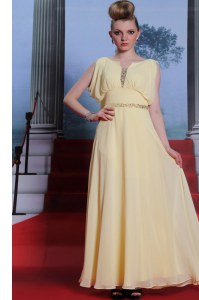 Scoop Light Yellow Side Zipper Homecoming Dress Beading Sleeveless Floor Length