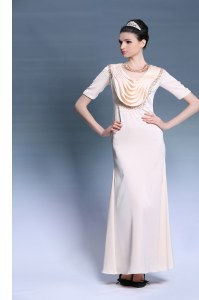 Chic Scoop Floor Length Zipper Champagne for Prom and Party with Beading and Ruching