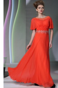 Flare Coral Red Scoop Neckline Appliques Dress for Prom Short Sleeves Side Zipper