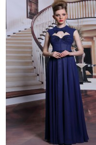 Custom Fit Navy Blue Zipper High-neck Beading Dress for Prom Chiffon Sleeveless