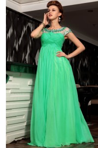 Dazzling Green Scoop Side Zipper Beading and Ruching Prom Dress Sleeveless
