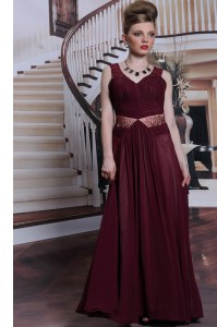 Burgundy Sleeveless Floor Length Beading and Ruching Zipper