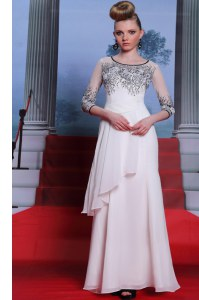 New Arrival Scoop 3 4 Length Sleeve Chiffon Dress for Prom Beading and Appliques Zipper